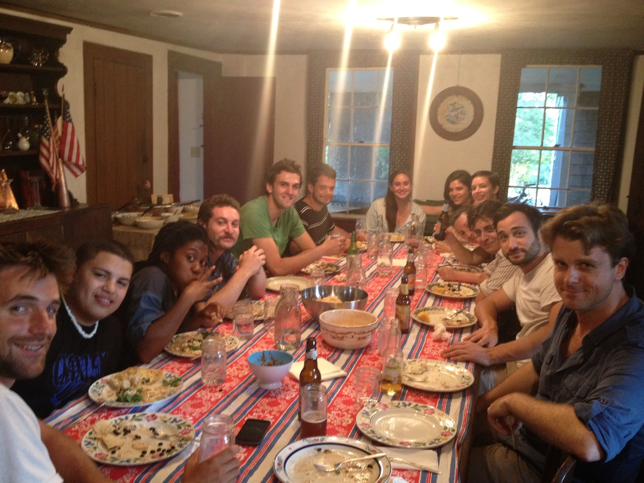 The crew from Woodshed Collective, Playwrights Lucas Kavner and Mat Smart, and the SPACE team enjoy taco night on the farm!
