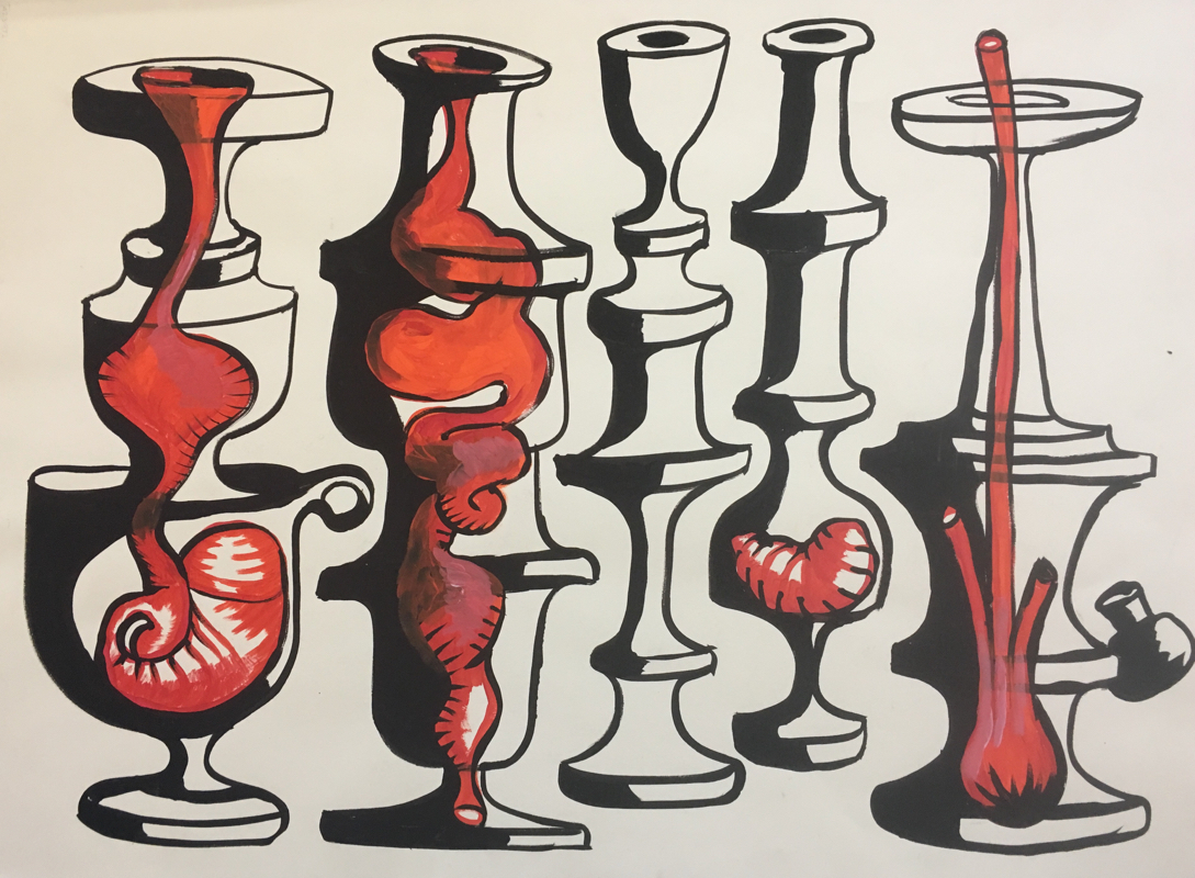 """Collection  32 x 24"""" tempera on paper"""
