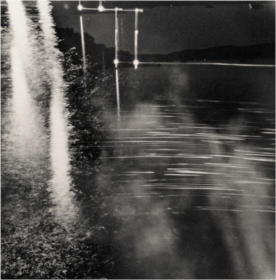 "Moon, Light, Swimmers  2013,   24x23.5"" (framed),   Gelatin silver print"