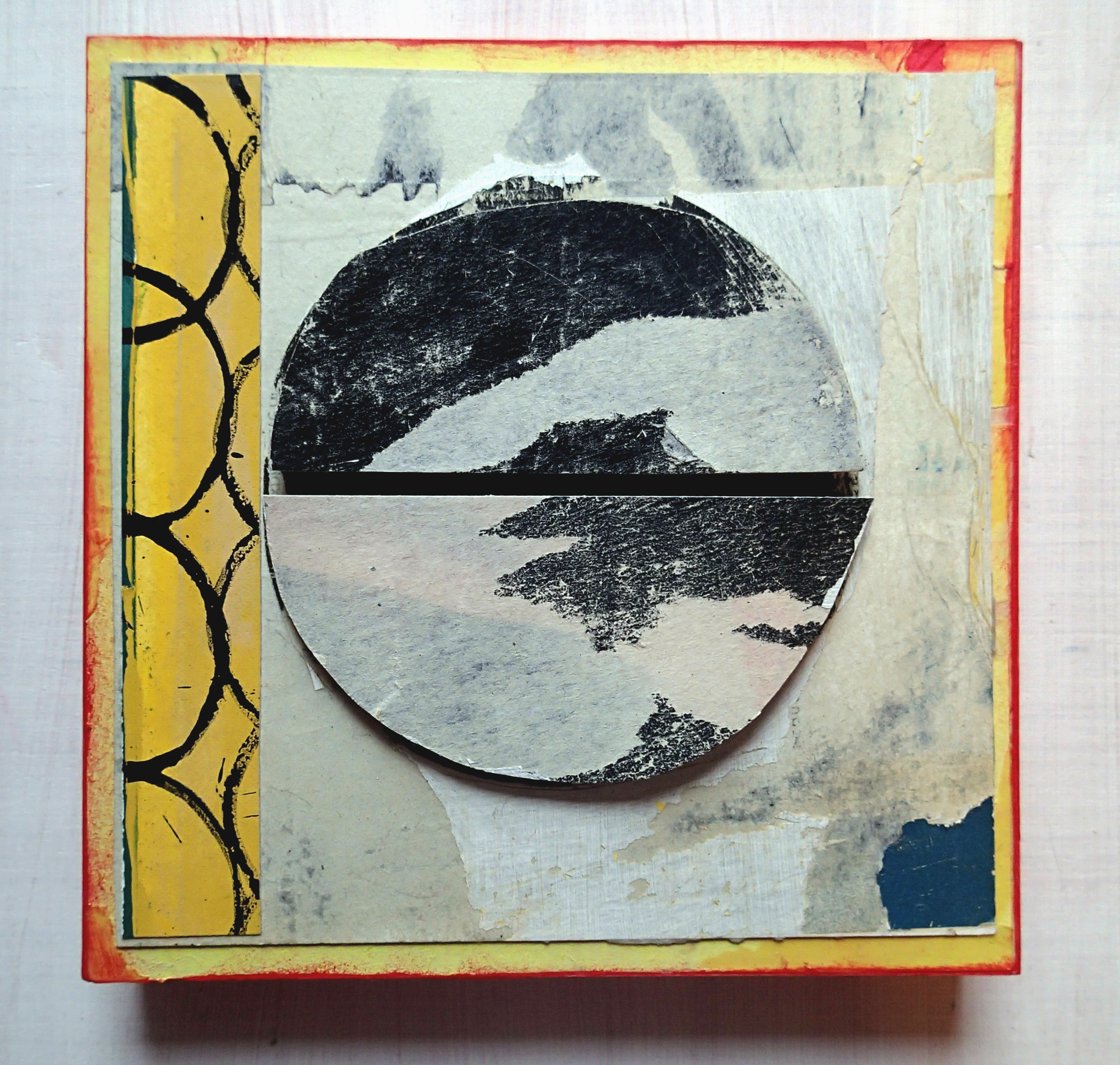 """SOLD 6""""x6"""" collage/painting on 1"""" cradled hardwood."""