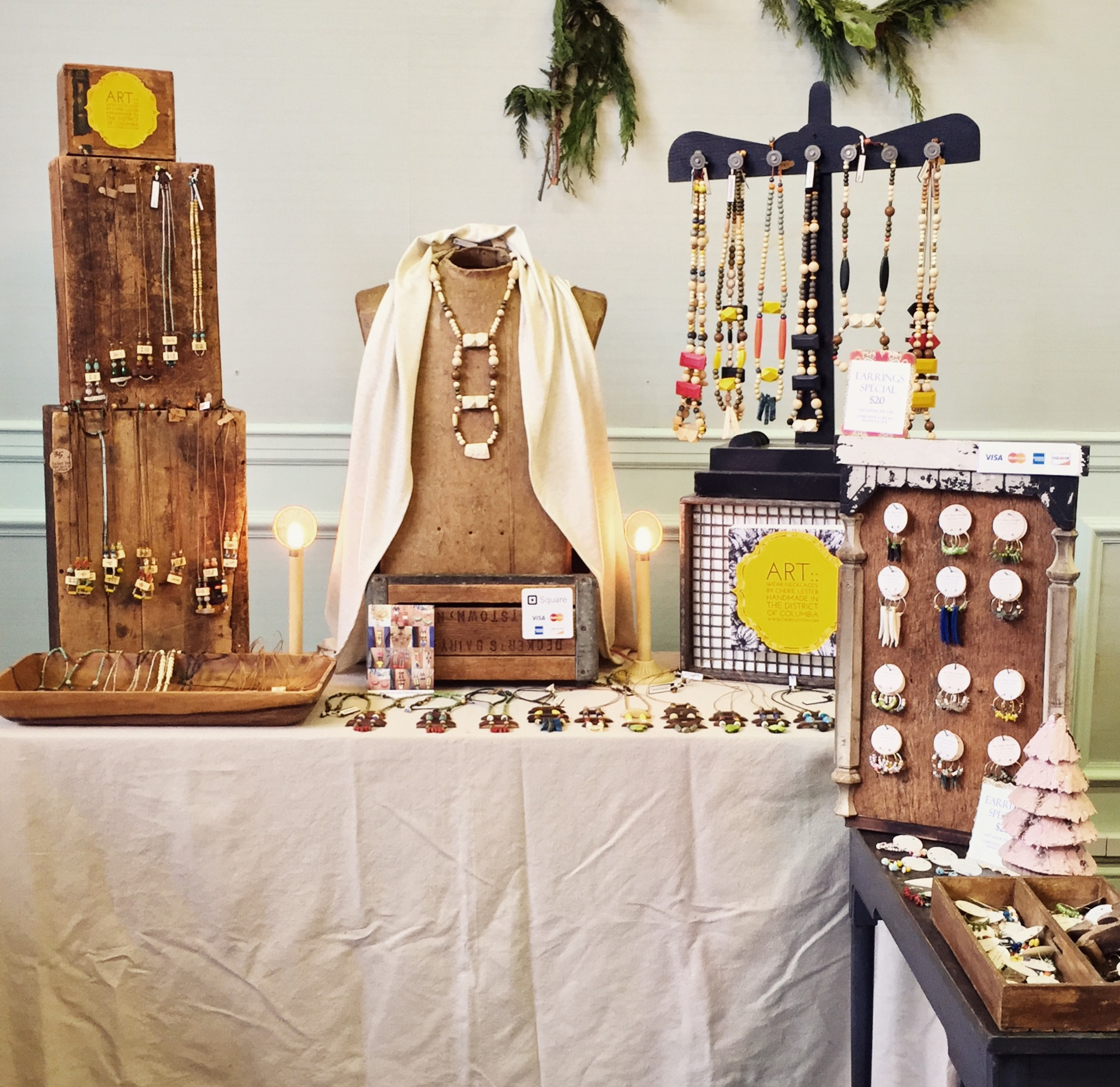 My jewelry display at the 2016 Made In DC holiday show in Van Ness DC.