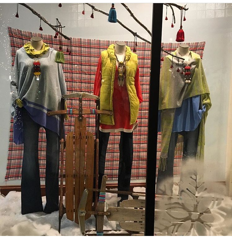Aquamarine's January 2017 window showing my necklaces on their fantastic clothes! Lewes, Delaware.