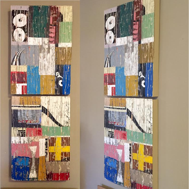 Diptych, textiles, wax, cut paper and paint decollage. Horizontal or vertical, each panel is 17x25, $520