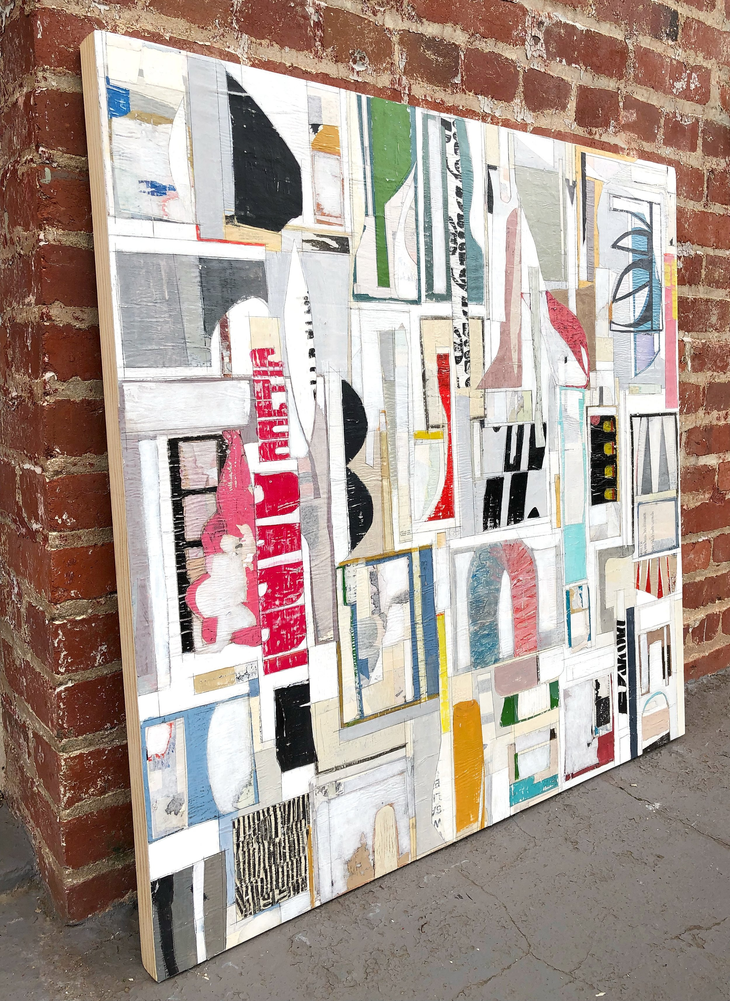 NEW! AVAILABLE $1400, December 2018, 3' x 3' Layered, mixed media, decollage painting on framed hardwood. Finished with archival wax. Ready to hang. Available to see in Woodley Park