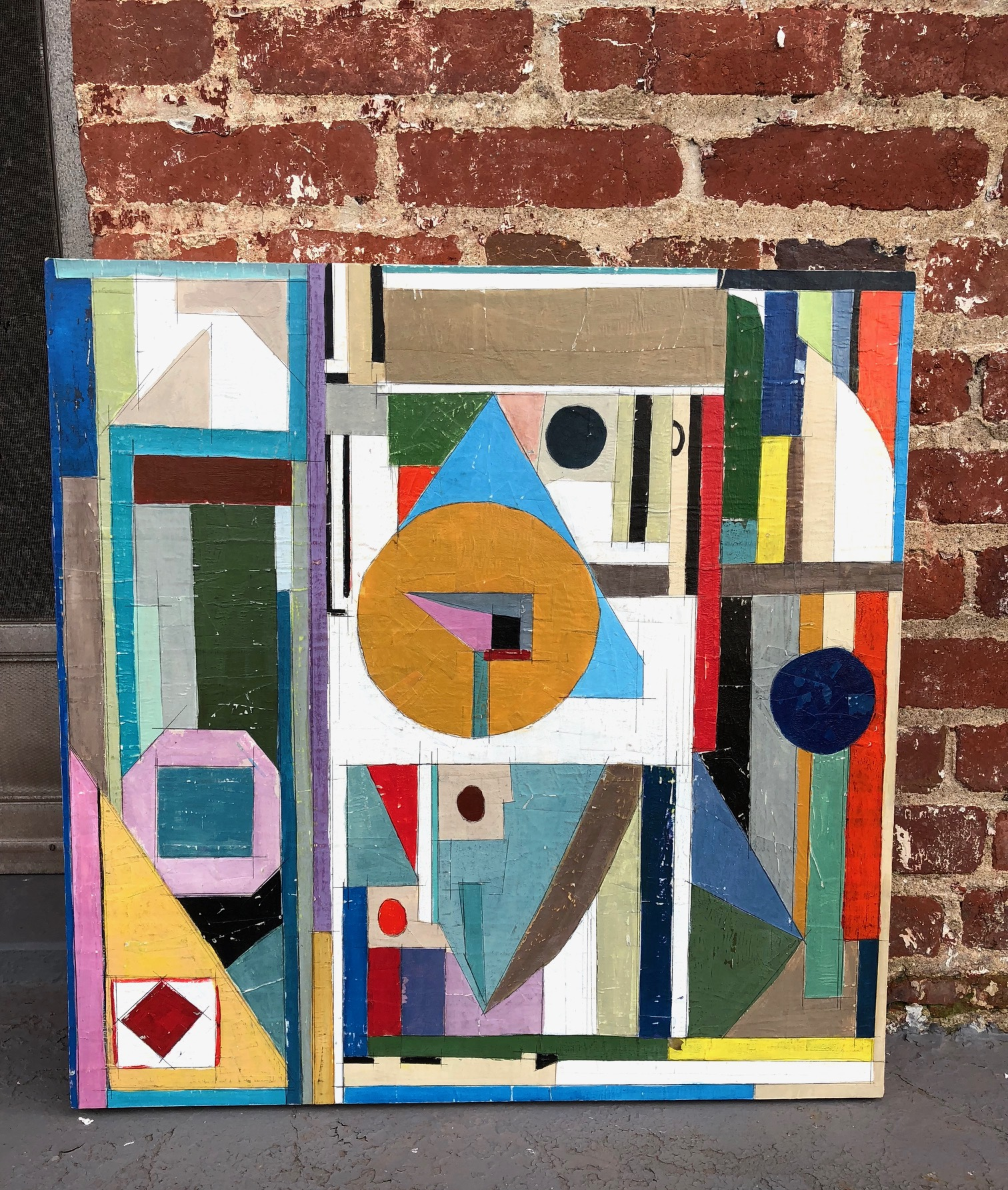 """AVAILABLE, $500 Created Sept 2018. Painting on top of cut paper mosaic. Wax finish. Cradled hardwood. 24"""" x 24"""" (2 more photos below). In Woodley Park studio."""