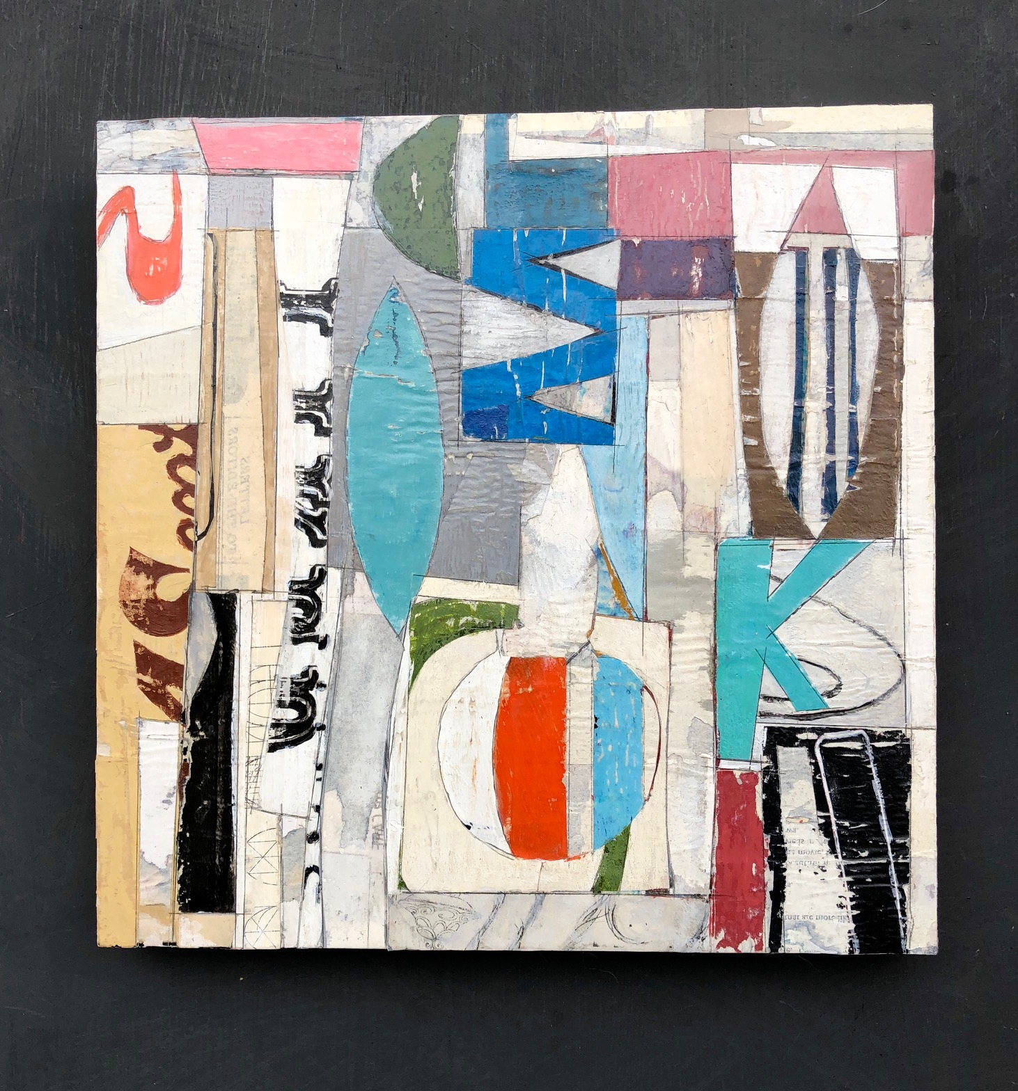 """SOLD, at Shop Made in DC at the Wharf. 12"""" x 12"""" Decollage Paper Painting. November 2018."""