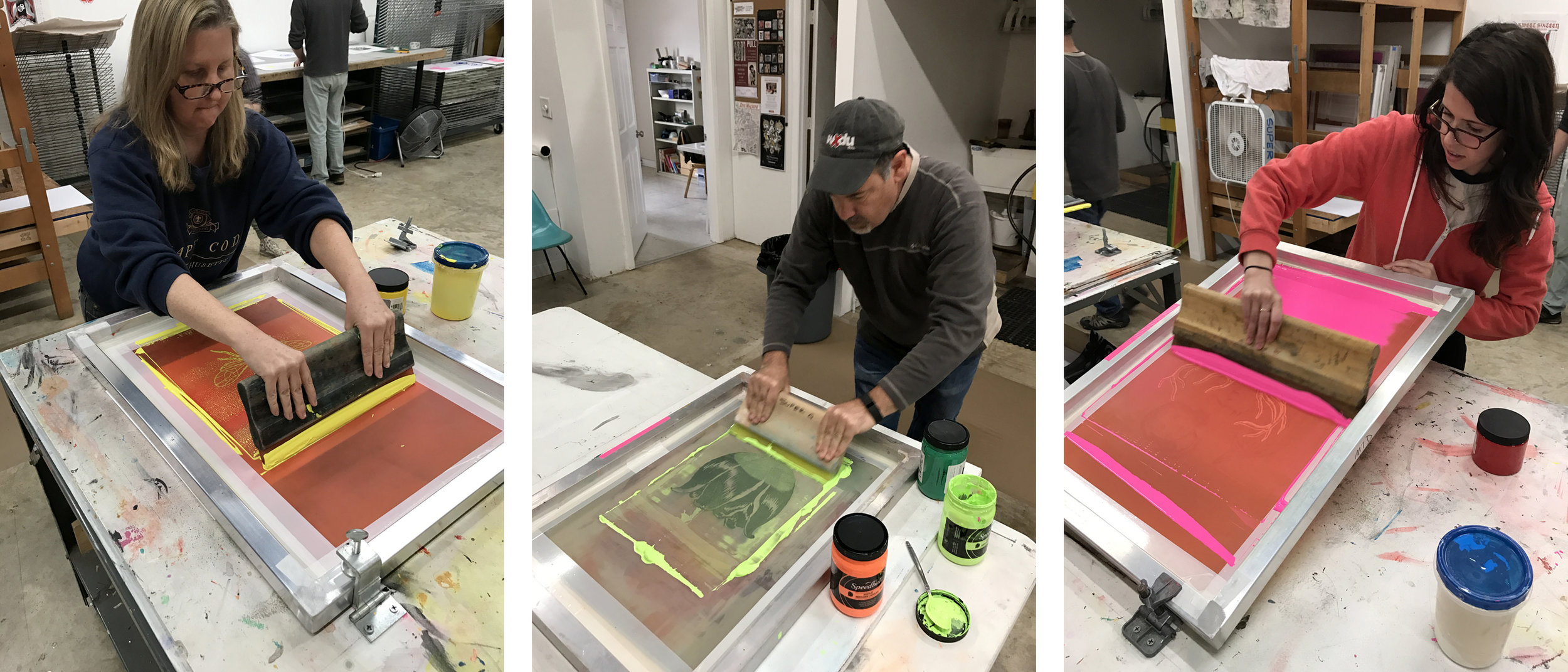 Melody, Robby and Kate screen printing at our recent workshop at Super G Print Lab on Saturday, December 3rd.