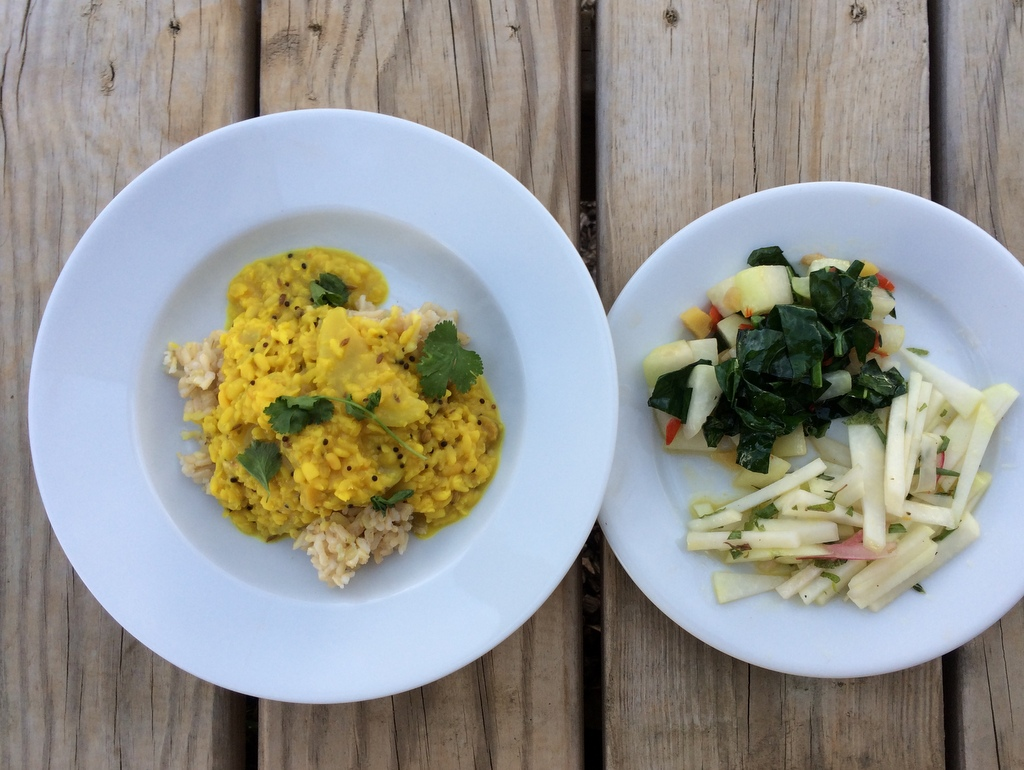 Last week's class featured kohlrabi … in a slaw with fresh herbs, and stir-fried with kale, ginger, garlic scapes, and hot peppers, plus some yummy South Indian Dal.