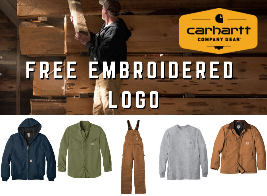 "Purchase 12 or more Carhartt items and have your logo embroidered on the front chest for FREE! - Offer valid until further notice. Setup fees may apply. Good for typical ""left-chest"" size approximately 3.5"" wide."