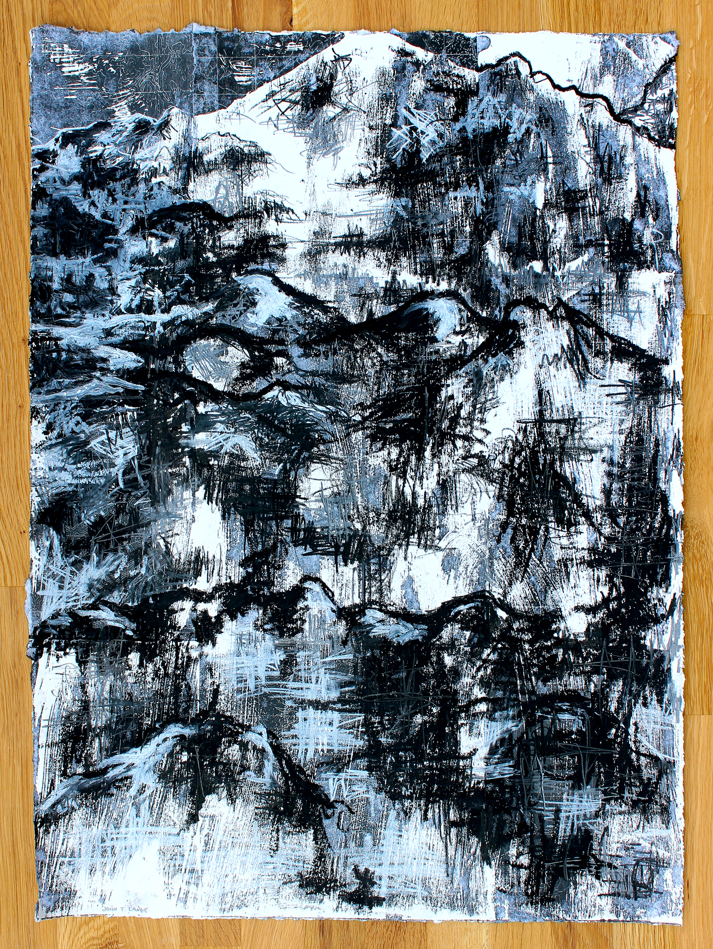 """The Hills Are Smiling   2015 mixed media on paper 24"""" x 17""""  sold"""