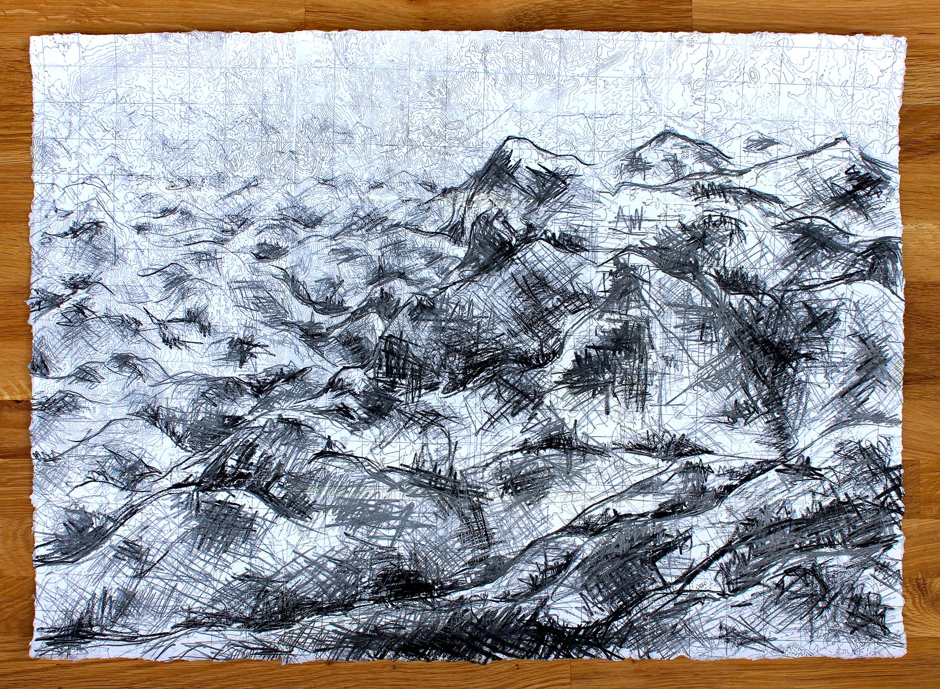 "Grid Range #01   2015 mixed media on paper 17"" x 24"""