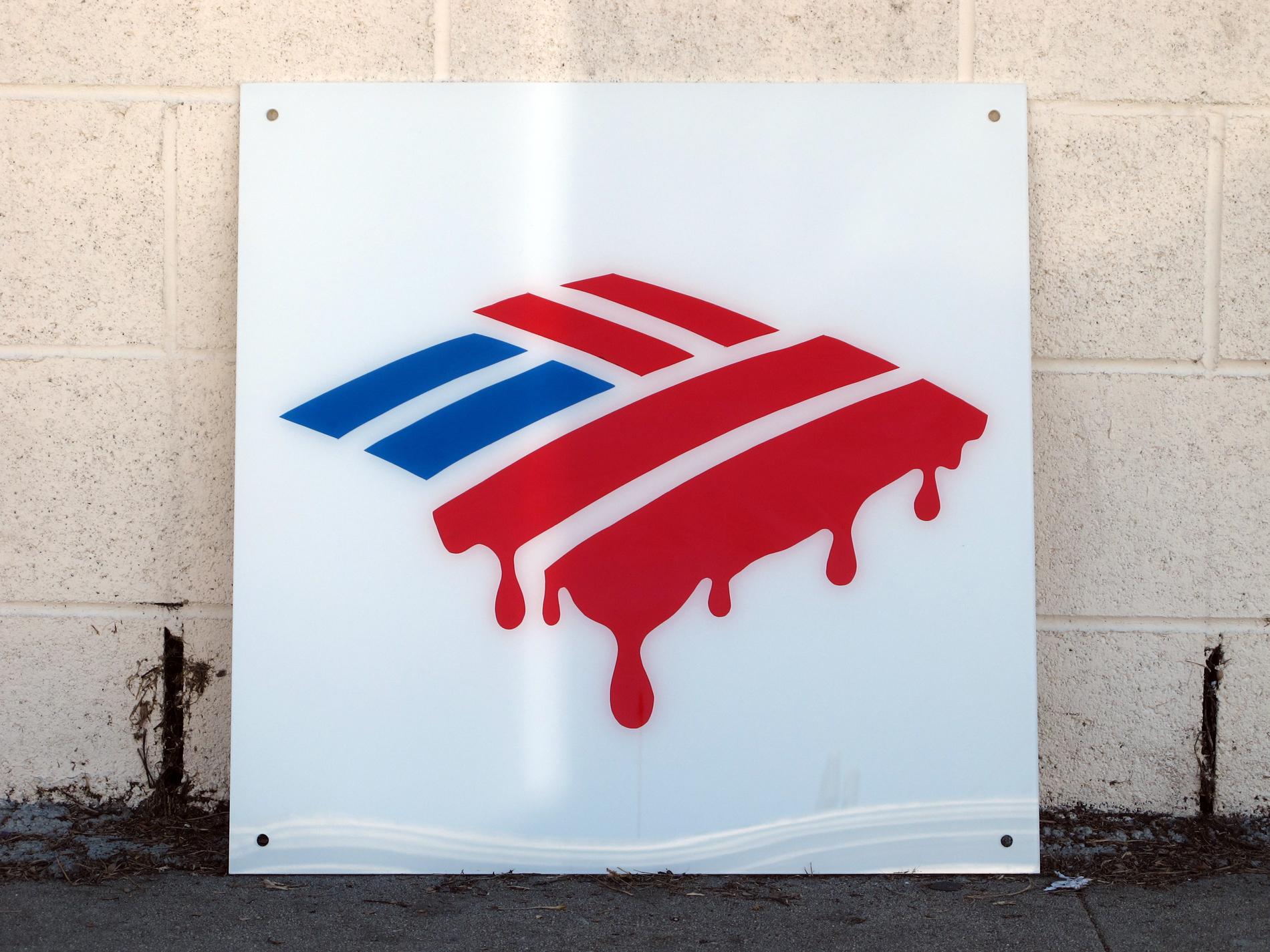 "Bank of America Bleeds America Dry (BoA B.A.D.)    2012   acrylic and enamel on UV plexiglass    24"" x 24"""
