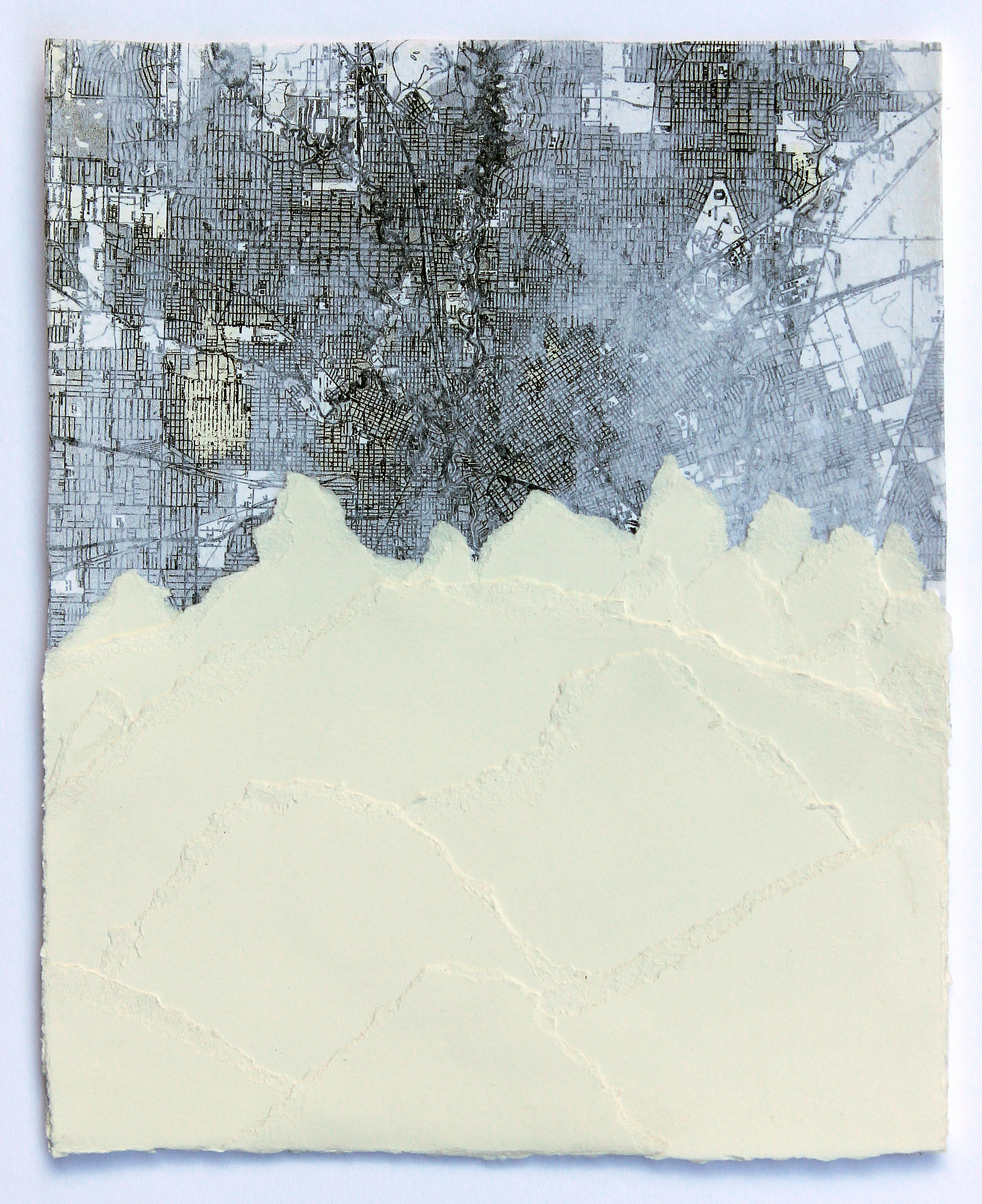 """Tetons   2014 mixed media and collage on paper 9"""" x 7""""  sold"""