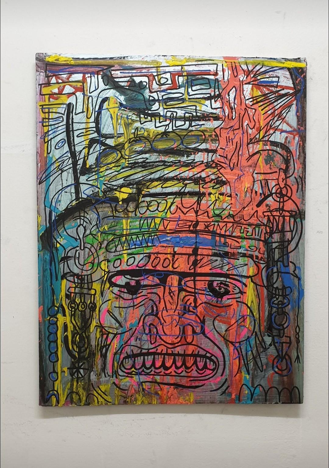 The shaman 50 x 80 cm mixed media