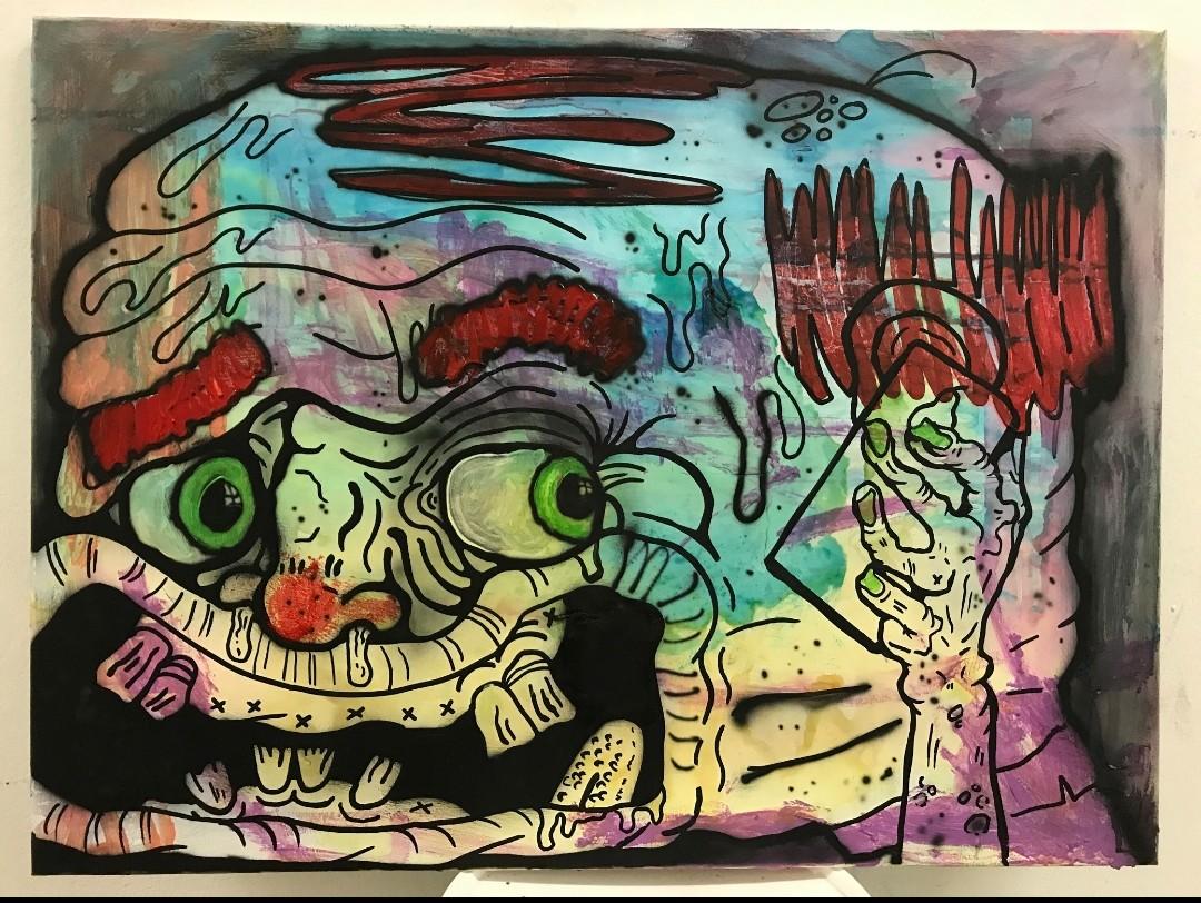 Sad clown 90 x 65 cm mixed media