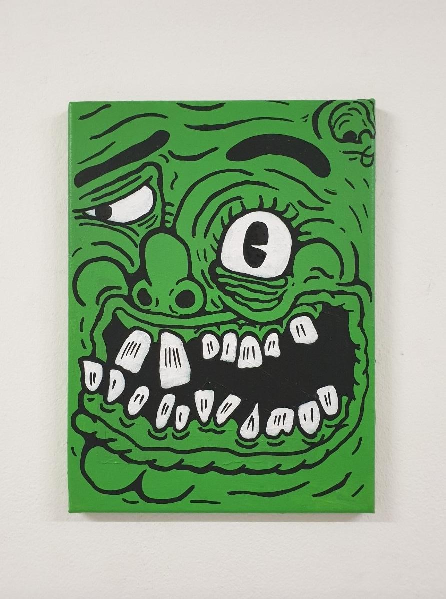 Green face 40 x 30 cm  acrylic