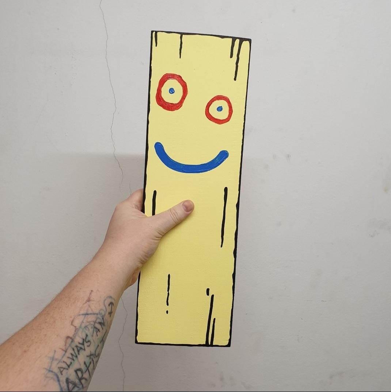 Plank 45 x 25 cm mixed media