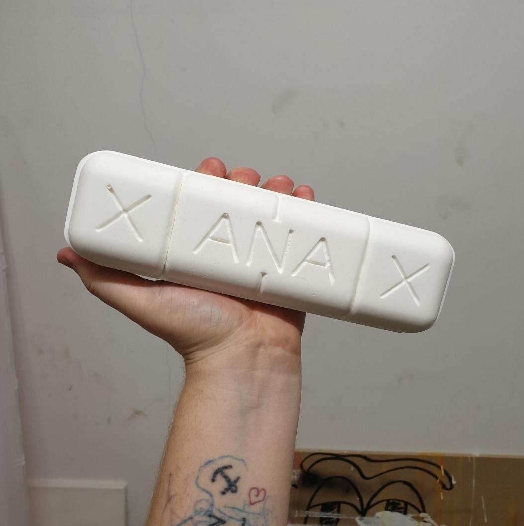 XANAX pill 23 x 7 x 6 cm white resin