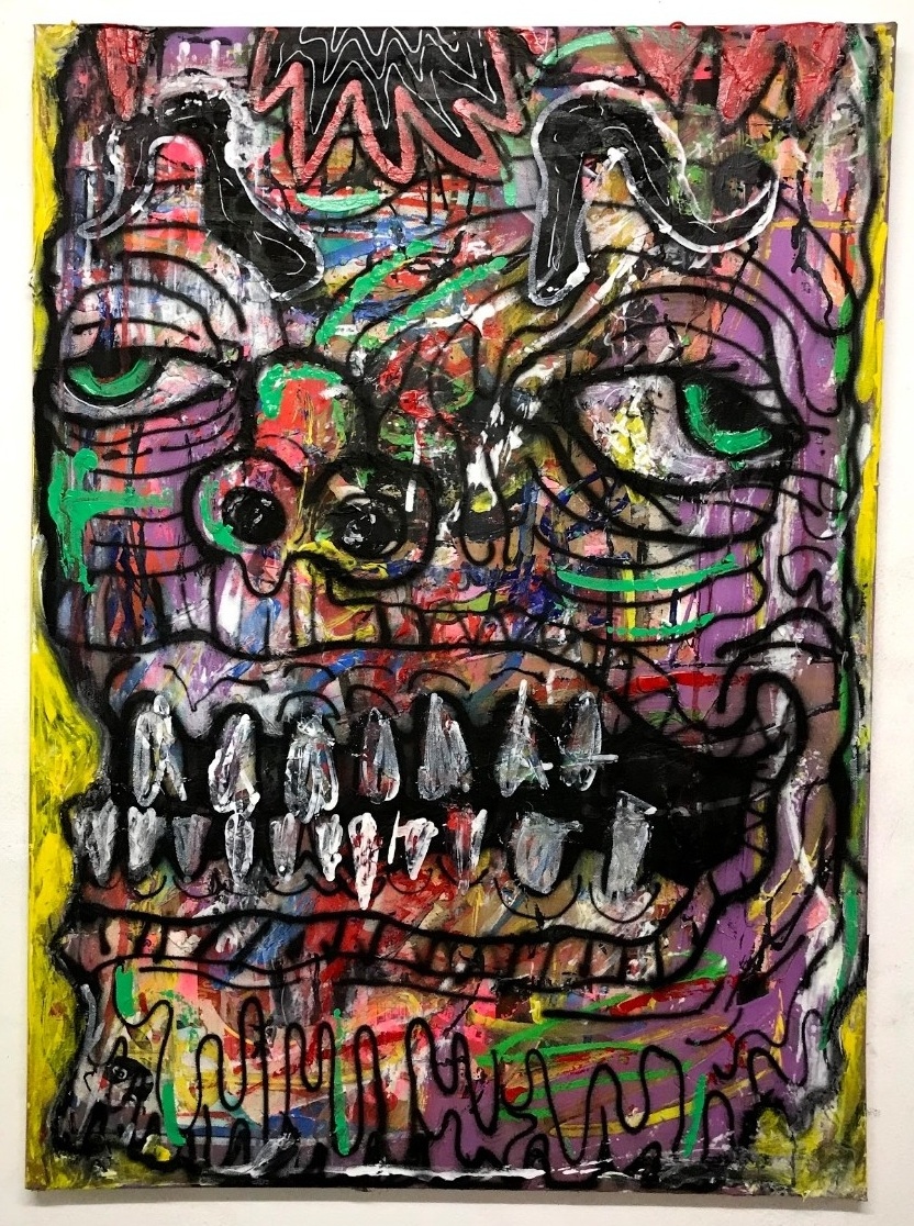 French face  65 x 90 cm mixed media