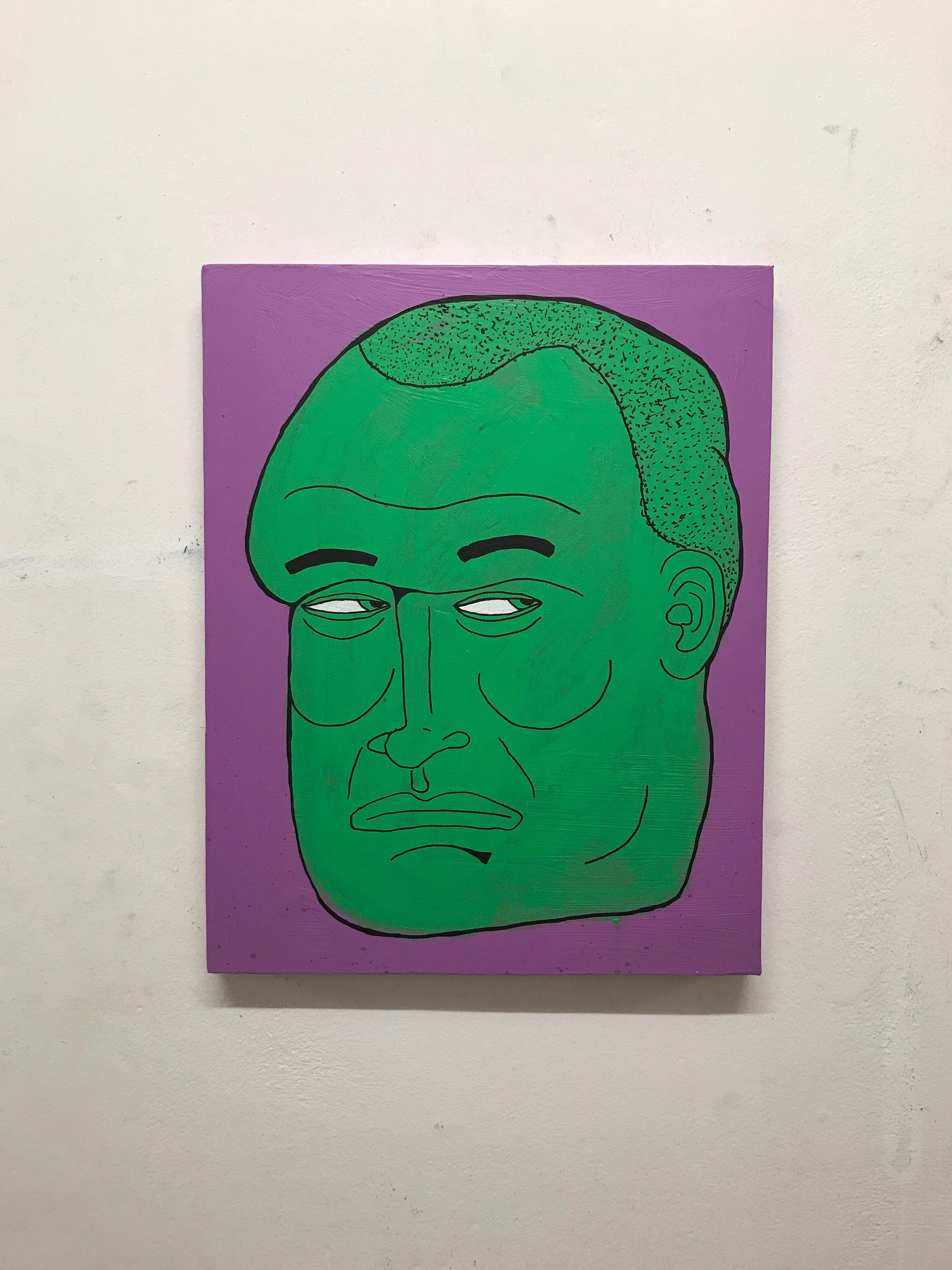 Green man 40 x 50 cm mixed media