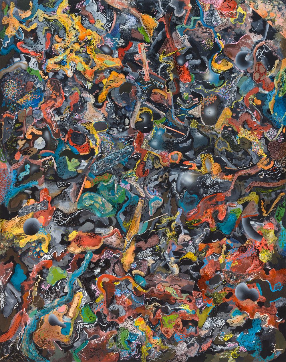 Tymek Borowski Untitled,2016, acrylic and indian ink on canvas, 150 x 190 cm