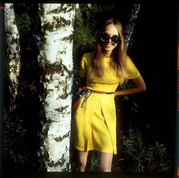 Actress Ma  ł  gorzata Braunek by Tadeusz Rolke. Dress and styling: Barbara Ho     /Ho     and,   1969   ©Agencja Gazeta