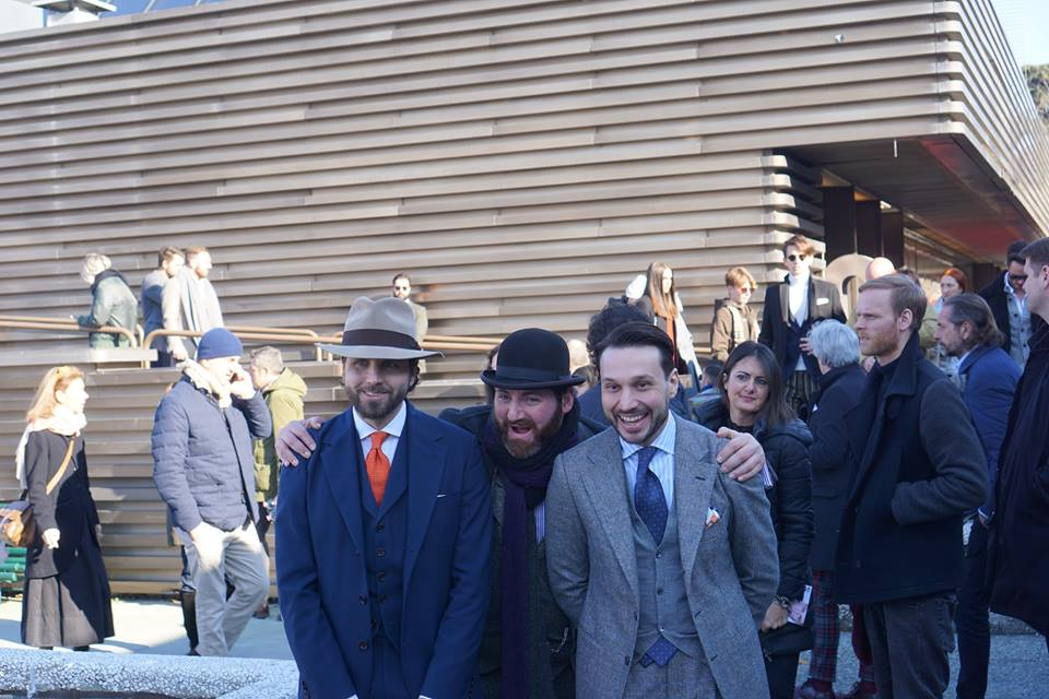 Maciej Zaremba (without a hat ) during Pitti Immagine, January 2017,  courtesy of Zaremba