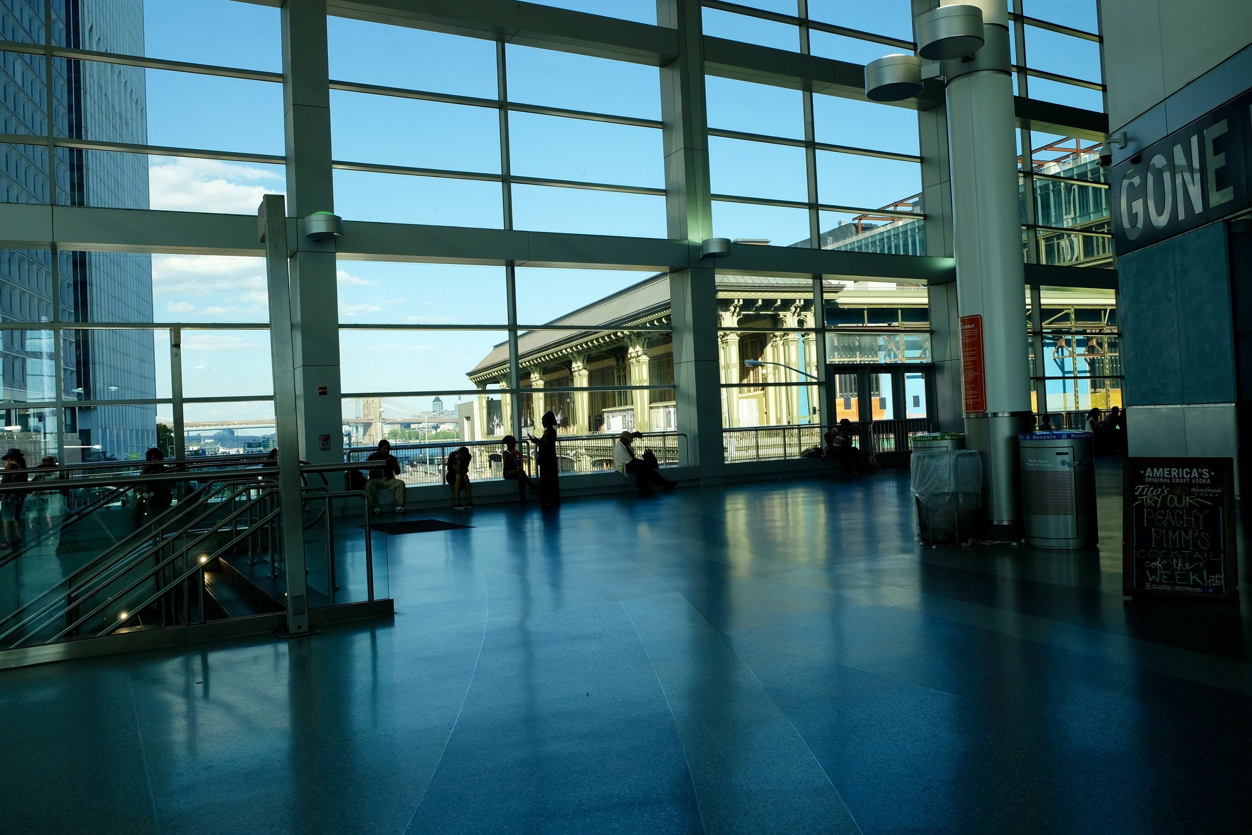 Inside the Staten Island Ferry Terminal, Looking out at the Old South Ferry Station