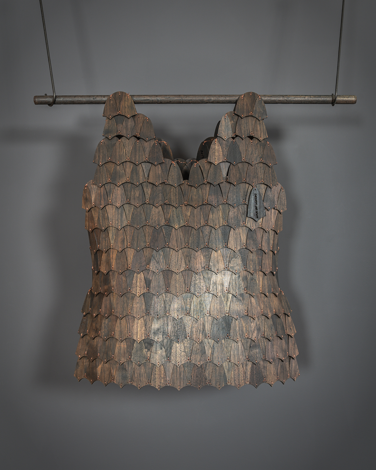 New Series Armor From Words… Words For Armor: Fabricated from 537 Pieces of Walnut, Handsewn Together with Copper Wire