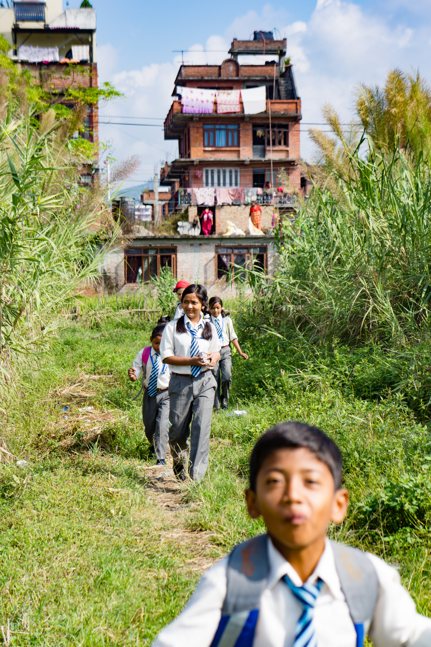 The walk to school is one of my favorite parts of the visit to the orphanage.   Bhaktapur