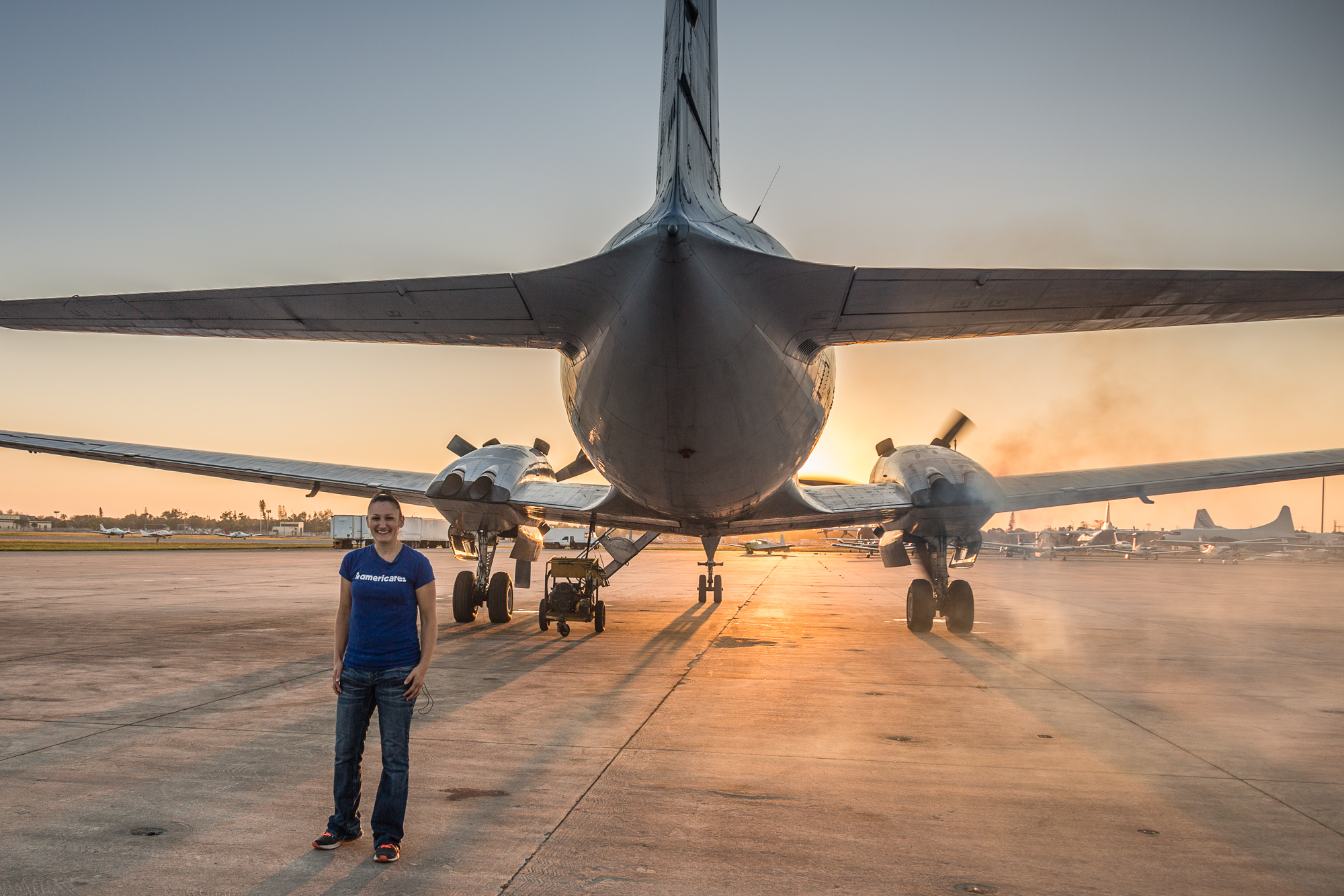 On the runway with Americares as a plane full of emergency supplies starts it's engines destined for the Virgin Islands destroyed by hurricane Irma.
