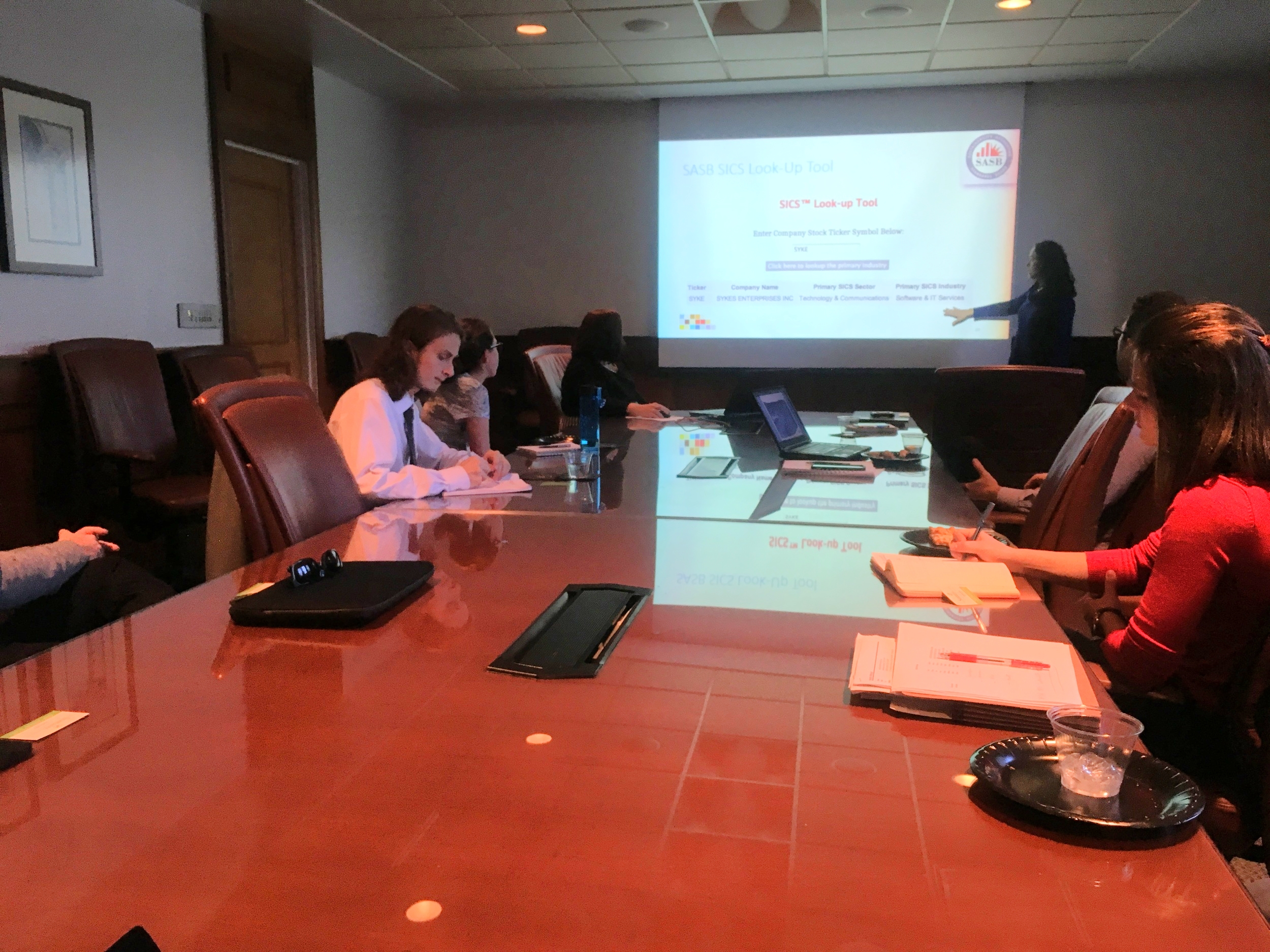 Training students at the University of Tampa, Sykes College of Business