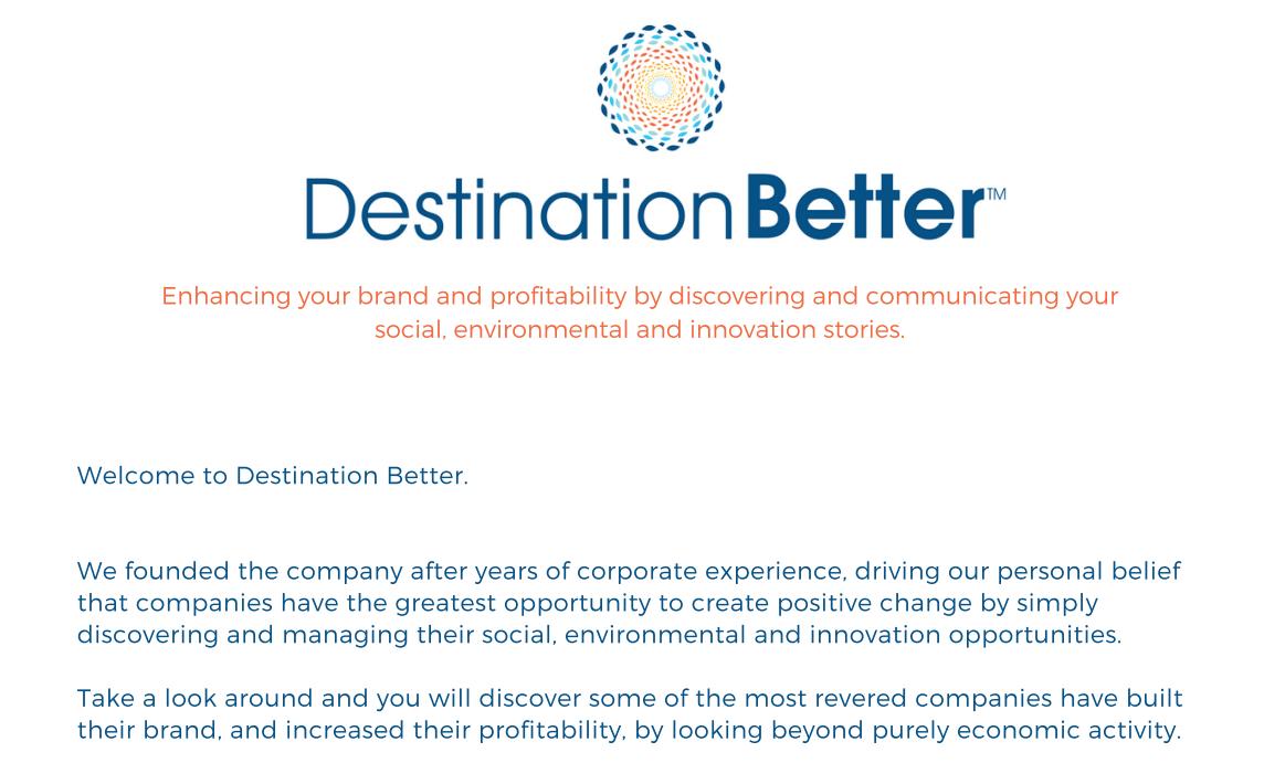 Destination Better welcome letter