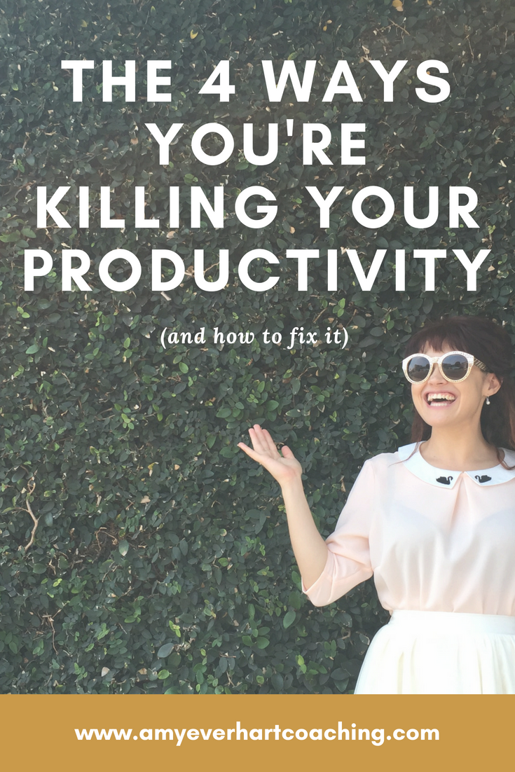 """Have you ever done that thing where you look up from your desk at the end of the work week and think, """"Oh my god. What did I even do all day? I felt busy, but absolutely nothing has gotten done!""""  It isn't actually your fault.  If you aren't accomplishing what you want, it's not even a You Problem. It's because one or more of the Four Big Productivity Poisoners is sabotaging your success. Luckily, I have the antidote to each."""