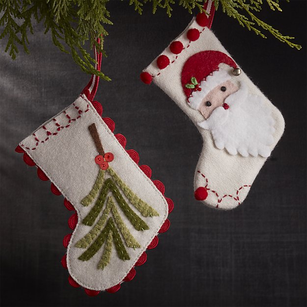 Crate & Barrel Mini Holiday Stockings