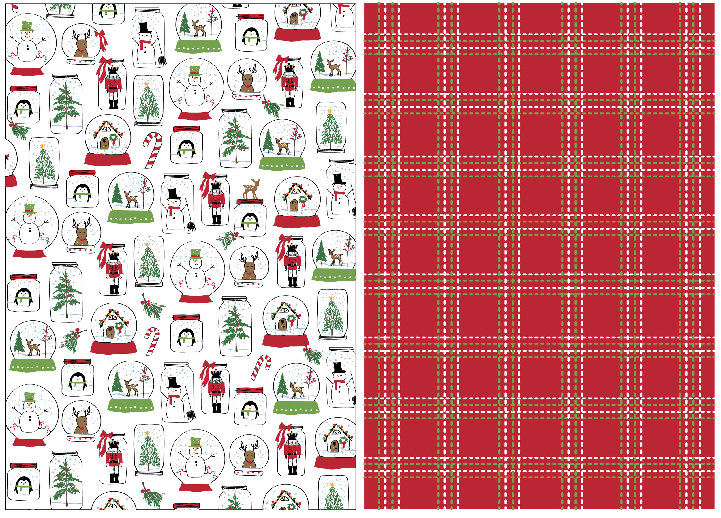 Snow Globe dish towel set, printed icons with a woven.