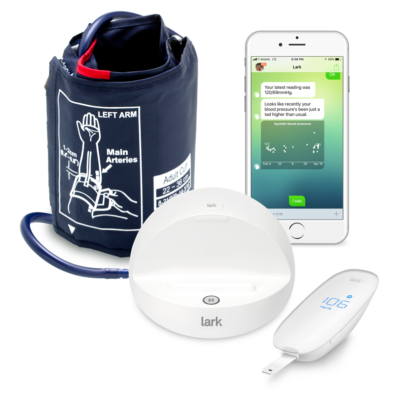 The Lark blood pressure cuff and glucose meter, which pairs with the Lark App.