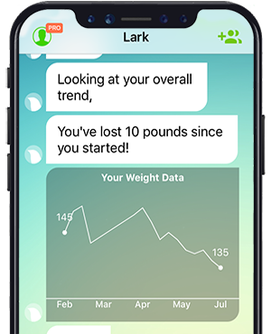 Lark helps you track your weight loss and share your accomplishments.