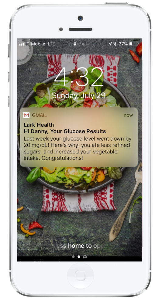 Lark is also capable of emailing you reports to see how you are doing in meeting your goals.