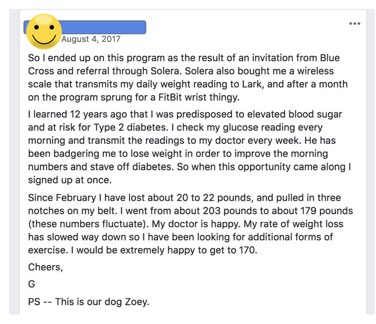 Lark Health reviews - user who lost 20 pounds