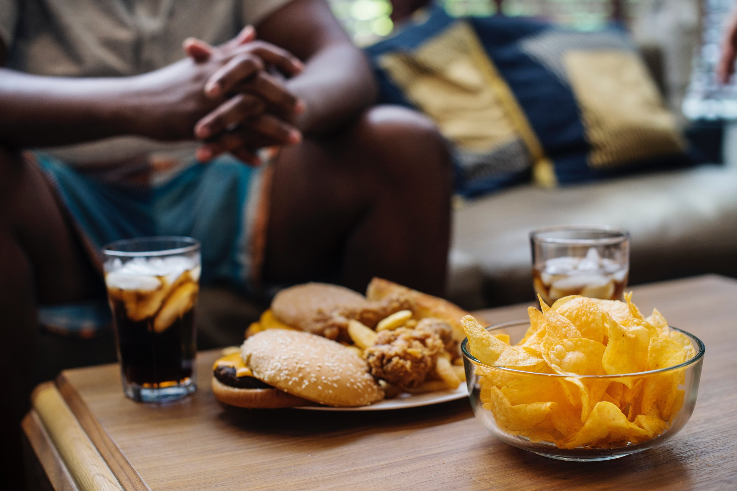 Burger, soda and chips are foods to avoid with prediabetes.