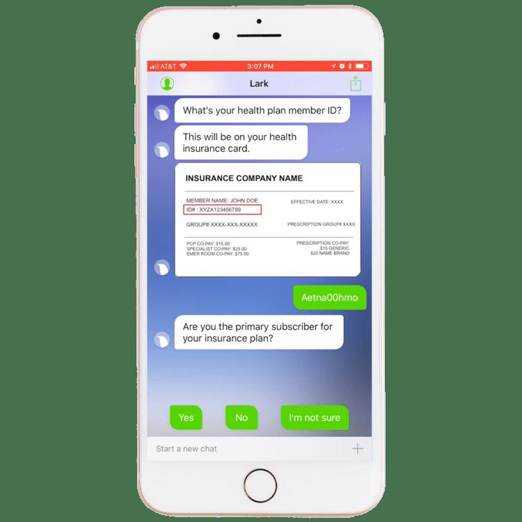 Lark app confirming health plan member ID.