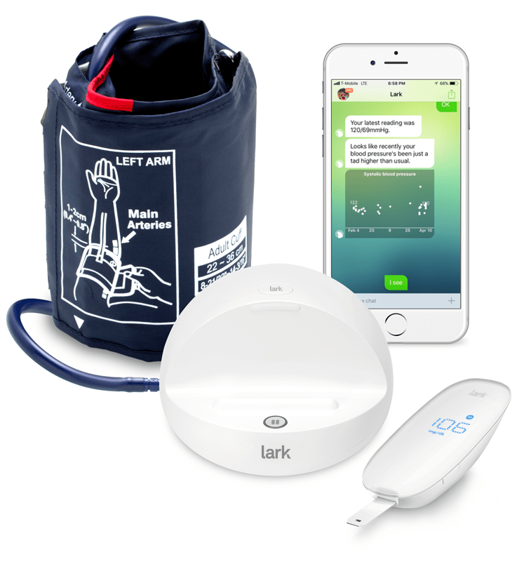 Blood pressure cuff, glucose meter and reading strips from Lark.