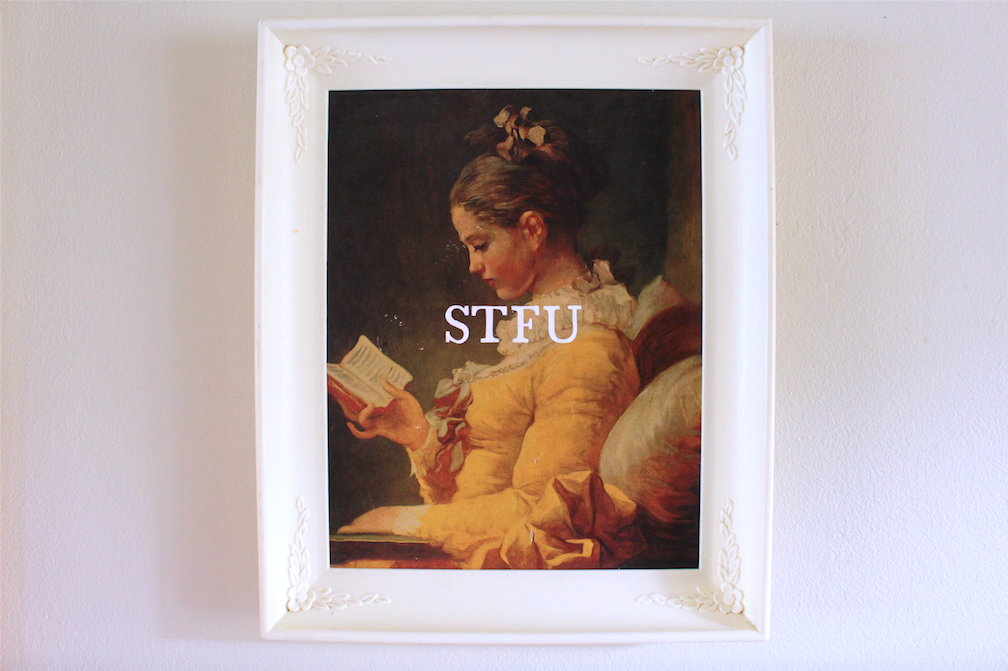 STFU   acrylic on found painting   2015    sold