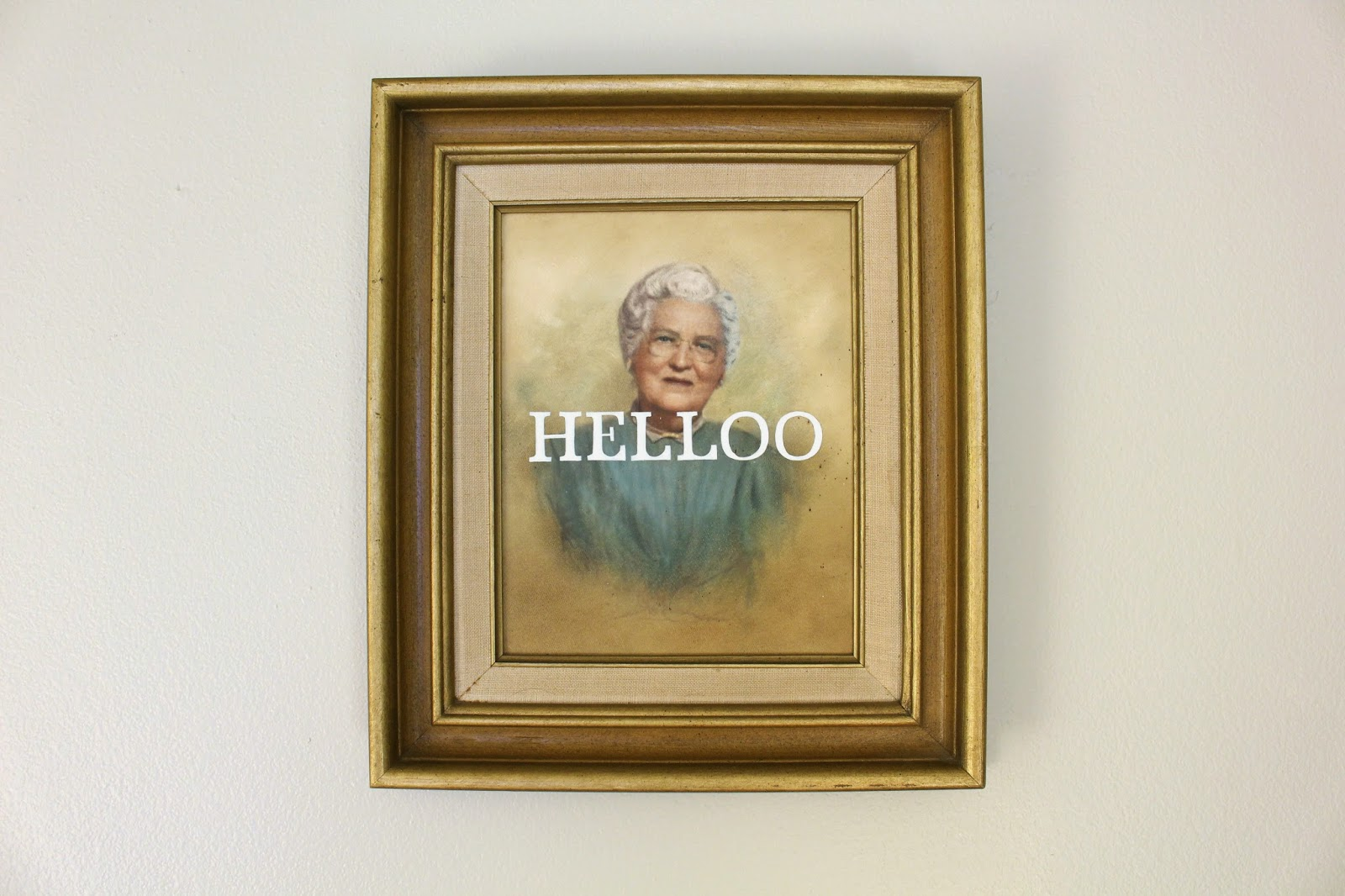 Helloo   acrylic on found painting   2014   sold