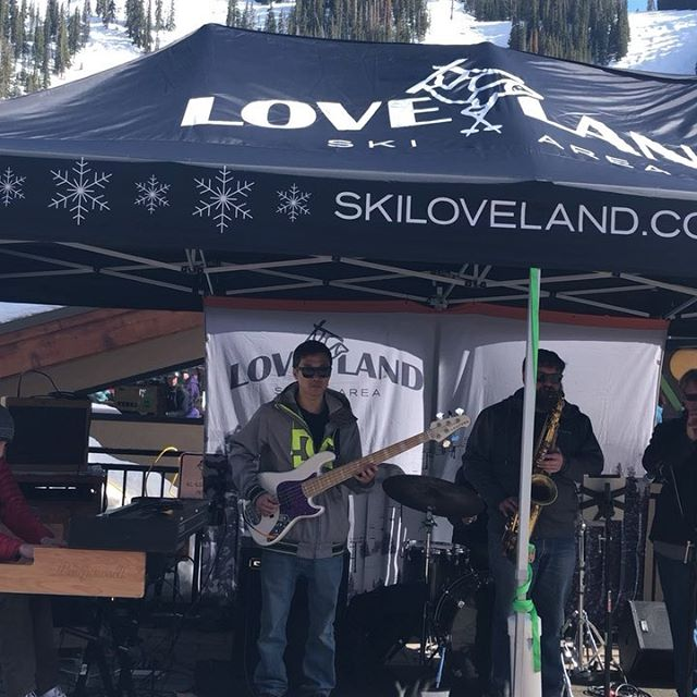 Fun times on s cold day at @lovelandskiarea this past weekend. Already looking forward to next season! . , . . . . . . . . , . #spaceorphan #funkparty #lovelandskiarea #outdoorgig #skiseason #powderday #snowboarding #denvermusic #coloradomusic #funk #funkmusic #soulfunk #funksoul #hornsection #freeswag #thejbs #jamesbrowninspires #jamesbrown #hammond #b3 #coloradomountains
