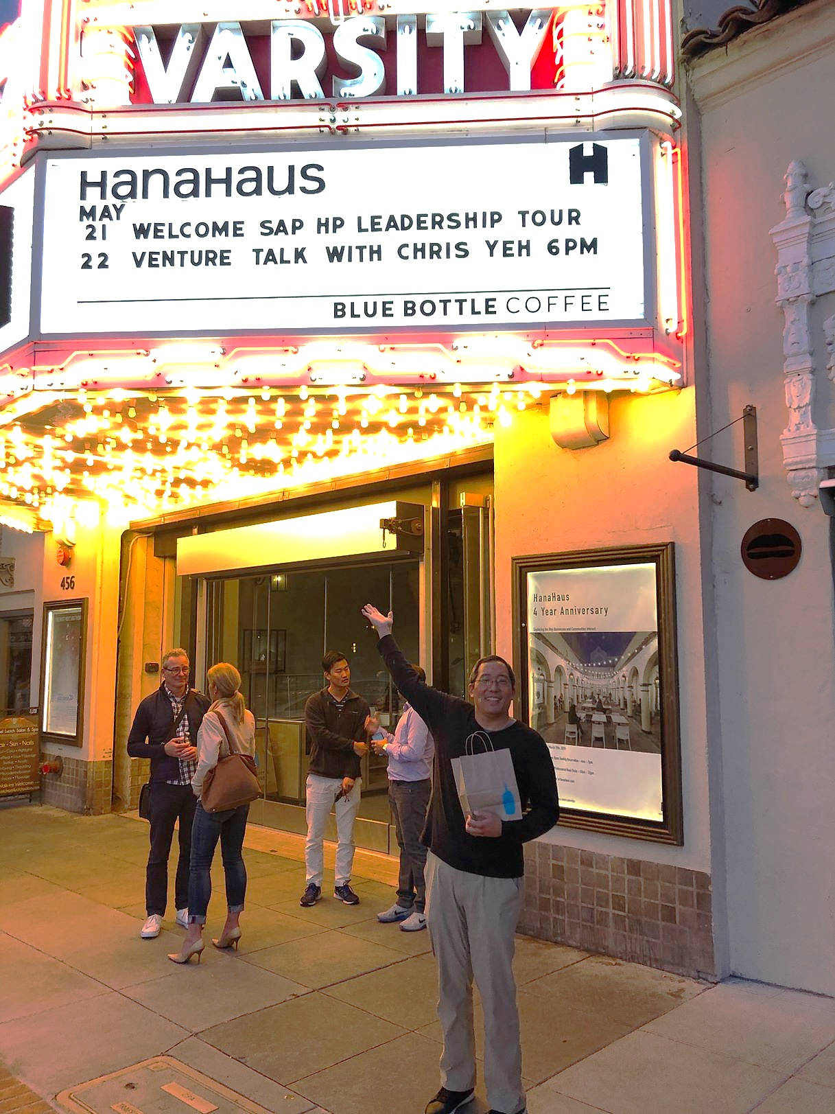 Chris who is a regular at HanaHaus was excited to see his name on our marquee.