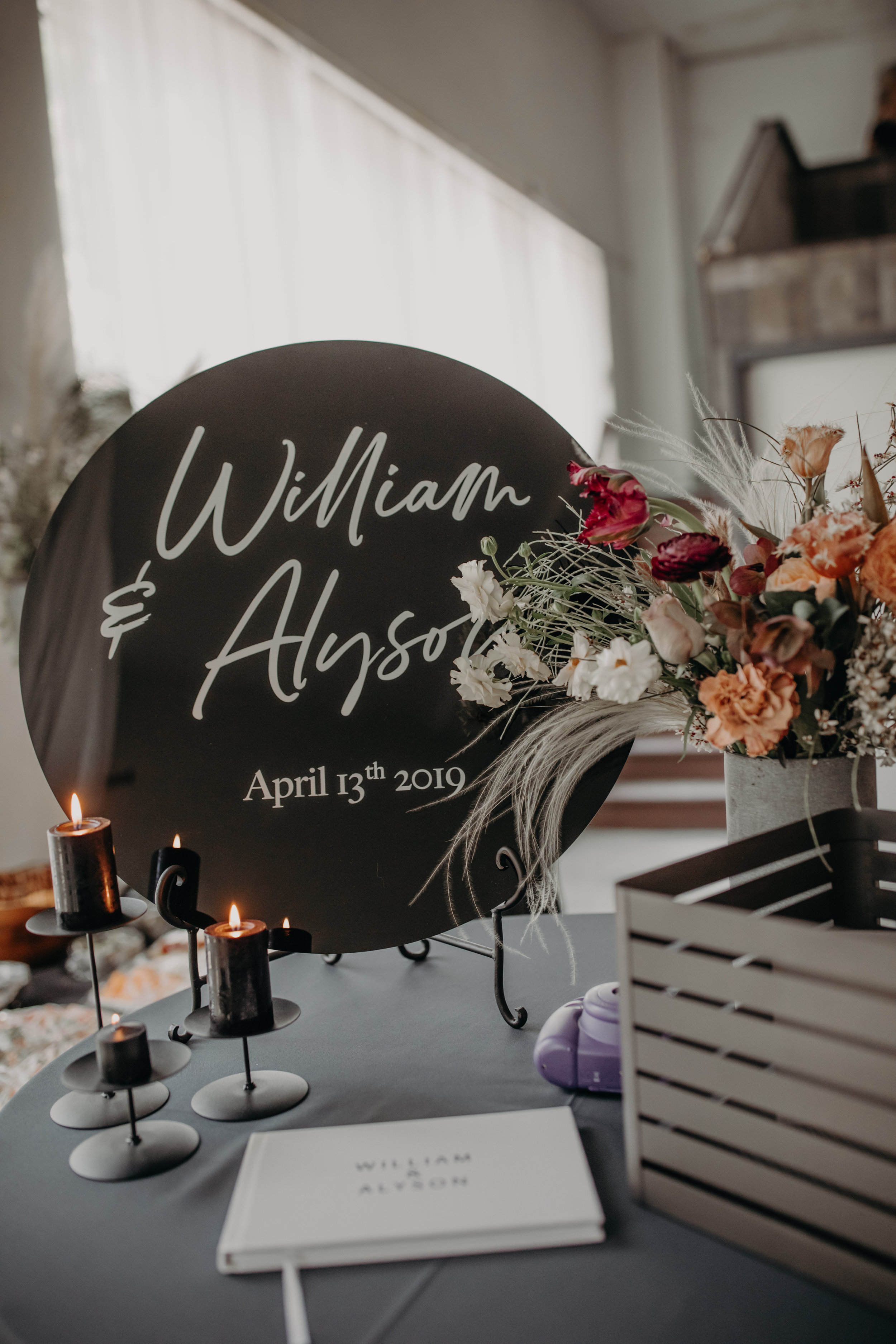 Moody Industrial Wedding Decor
