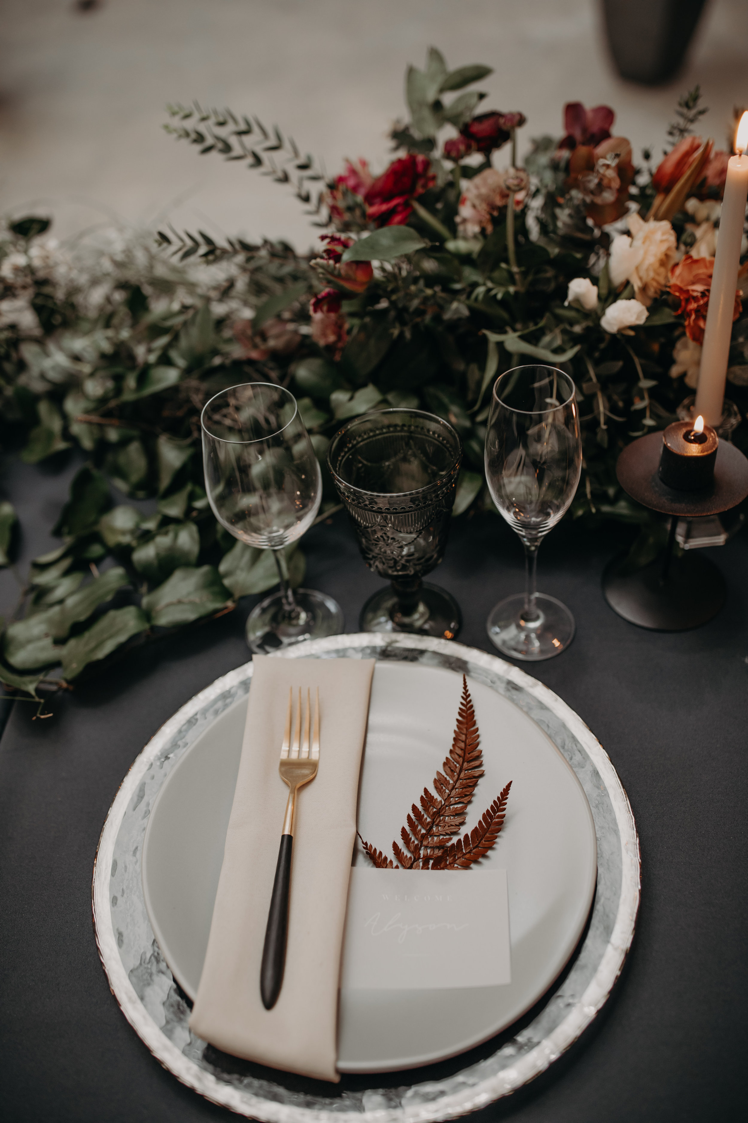 Moody Industrial Wedding Tablescape