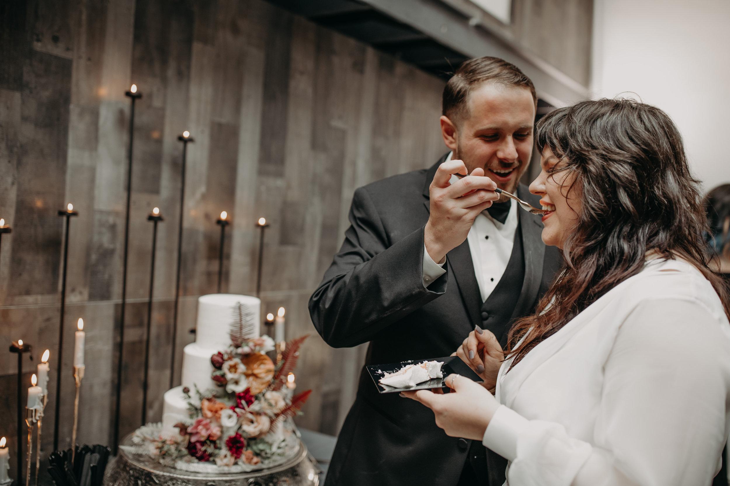 Moody Industrial Wedding Cake Dark